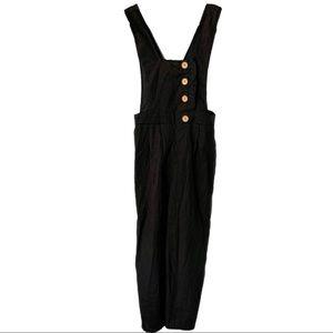 🆕 Black FAVLUX Linen Like Button Jumpsuit NWOT